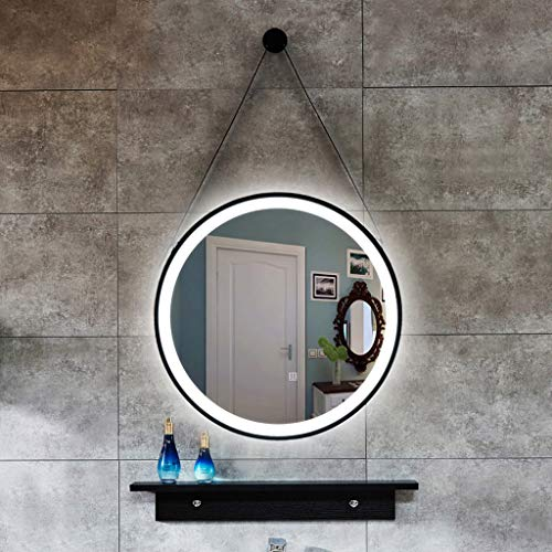 Espejo Antivaho A Prueba De Explosiones De Baño Inteligente, Espejo LED Redondo De Dos Colores con Luz LED, Espejo De Vanidad Montado En La Pared del Lavabo