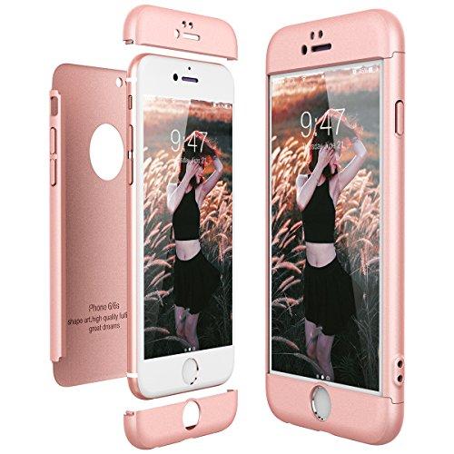 CE-Link Cover per Apple iPhone 6 6S 360 Gradi Full Body Protezione, Custodia iPhone 6 Silicone Rigida Snap On Struttura 3 in 1 Antishock e Antiurto, iPhone 6S Case AntiGraffio Molto Elegante - Rosa
