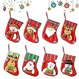 Medias De Navidad Juego De 8 Medias De Regalo para El Árbol De Navidad Chimenea Decoración Colgante Calcetín Muñeco Nieve Reno Papá Noel Adorno De Navidad Bolsa De Dulces Calcetín De