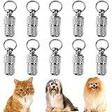 FANDE Anti-Perso Pet ID Tag Barile, 10 Pezzi Medagliette per Animali, Barrel Tubo Collare, Pet Cucciolo di Cane Gatto ID indirizzo Etichetta con Nome