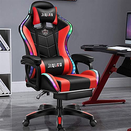 Spielstuhl Mit Bluetooth-Lautsprecher, LED-Licht Gaming Stuhl Mit Taillen Massage Funktion Und Versenkbarer Fußstütze, 135 Grad Verstellbarer Liegestuhl,Rot