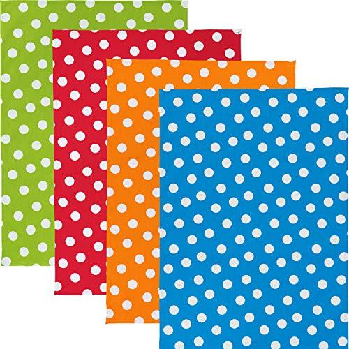 Erwin Müller Geschirrtuch - 4er-Pack - Geschirrtücher - 4er-Set - saugstark - strapazierfähig - 100% Baumwolle - grün - rot - orange - blau - Größe 50x70 cm