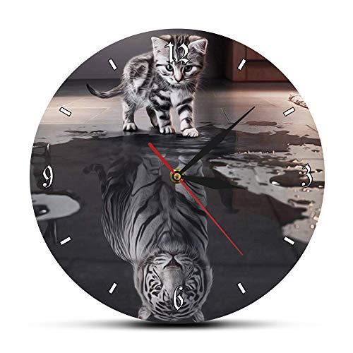 3D animé Animal Acrylique Horloge Murale Tabby Chat reflet Blanc Tigre Maison gâteau Illustration...