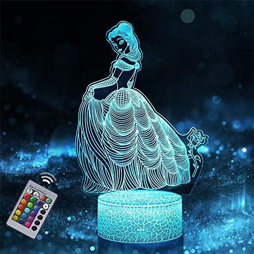 Princesa 3D luz nocturna, lámpara de ilusión óptica con control remoto de 16 colores que cambian de Navidad, regalo de cumpleaños de Halloween para niño niña