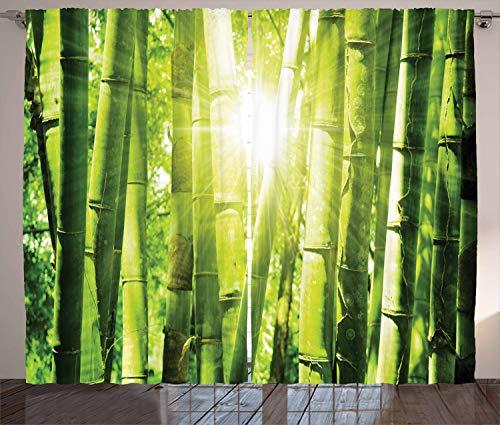 ABAKUHAUS Bambus Rustikaler Gardine, Sonnenstrahlen im Wilden Dschungel, Schlafzimmer Kräuselband Vorhang mit Schlaufen & Haken, 280 x 175 cm, Limones Grünes Gelb