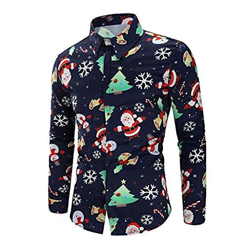 Beikoard_Hombre Manga Larga, Camisa de Hombre explosiva con Estampado de Papá Noel Opcional Top