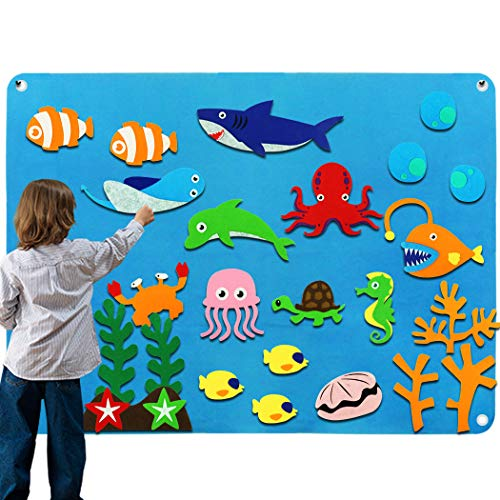 Kids Flannel Felt-Board Stories for Toddlers, Preschool Large Ocean Felt Storyboard with Animals Shark Figures, Wall Hang Classroom Activity Kits
