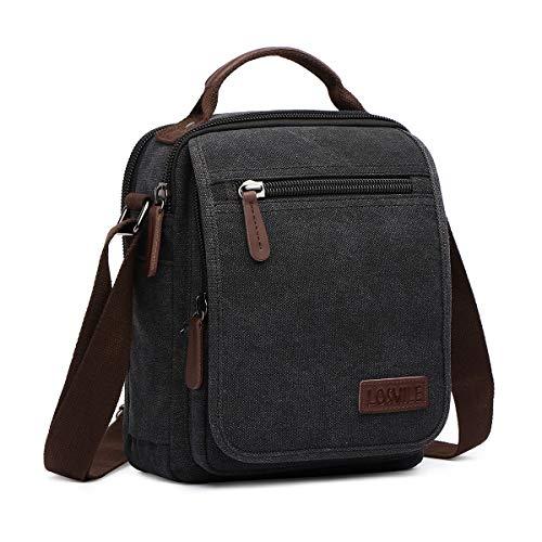 LOSMILE Bolsos Bandolera Hombre Pequeñas Bolsos de mano Bolsa de Hombro Messenger Bag Bolsa de Lona para iPad mini Escolares Sport Casual (Negro)