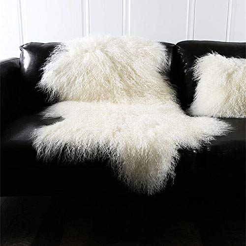 Genuine Tibetan Mongolian Sheepskin Fur Rug Hide Pelt Throw Rug Lamb Wool Carpet Curly Fur Used for Area Rug or Across Armchair,Ivory White