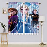 Frozen 2 cortinas opacas Elsa para ventana, de microfibra, reducción de ruido, con aislamiento térmico, eficiente de energía, para sala de estar (55 x 63 pulgadas)