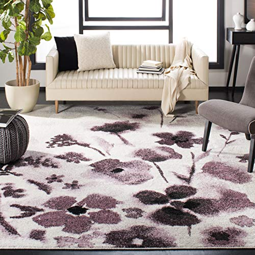 Safavieh Adirondack Collection ADR127L Ivory and Purple Vintage Floral Area Rug (8' x 10')