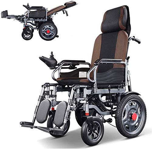 Silla de Ruedas eléctrica Plegable, Silla de ruedas eléctrica reclinable silla de ruedas 250w 2 motores duales 20ah batería de litio de 15 millas de Resistencia 5 velocidad Ajustes Cuatro absorción de