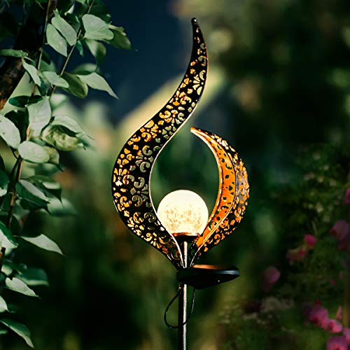 Garden Solar Lights Outdoor Landscape Path Lights,Waterproof LED Decorative Crackle Flame Glass Globe Stake Lights for Garden,Lawn,Patio,Pathway or Courtyard