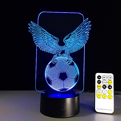 Night Stand Lamp Children's Lighting 3D Led Lamp Touch Sensor Football Eagle Shaped 3D Night Light for Sports Fans Best Gift 7 Color Changing Lighting Lamp Remote Control 16 Colors