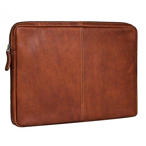 ROYALZ Tasche für Acer Switch Alpha 12 Ledertasche (kompatibel mit Tastatur) Lederhülle Schutztasche Schutzhülle Cover Sleeve Mappe Folio Retro Vintage Leder Cognac braun