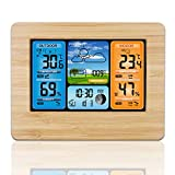 Wireless Weather Station with Color High Definition Display ALLOMN Indoor Outdoor Digital Thermometer
