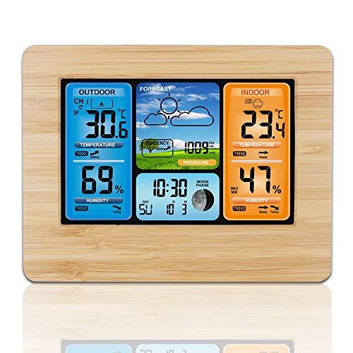 Estación Meteorológica Inalámbrica Digital Despertador, Frontoppy Temperatura / Humedad / Barómetro / Alarma / Fase Lunar / Reloj Meteorológico Pronosticado con Sensor Exterior (Madera)
