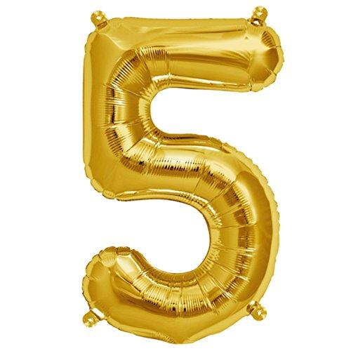 ballonfritz® Ballon Zahl 5 in Gold - XXL 40
