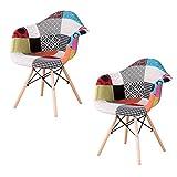 Sweethome - Juego de 2 sillas de comedor (2 unidades), diseño moderno de patchedworks tapizado, para cocina, salón, oficina, café (rojo)