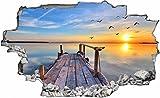 DesFoli Beach Steg Paradies 3D Look Wandtattoo 70 x 115 cm