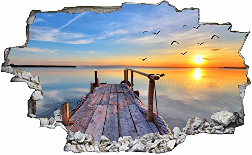 DesFoli Beach Steg Paradies 3D Look Wandtattoo 70 x 115 cm Wanddurchbruch Wandbild Sticker Aufkleber C323