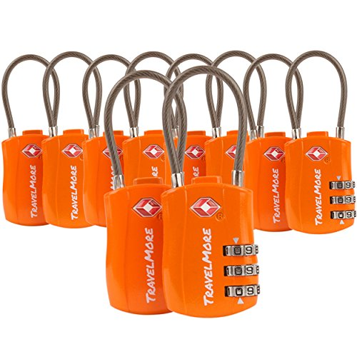 Reiseschloss TSA Approved – Gepäckschloss Kofferschloss Zahlenschloss Vorhängeschloss für Travel (1 2 4 6 Pack) (10 Schlösser - Orange)