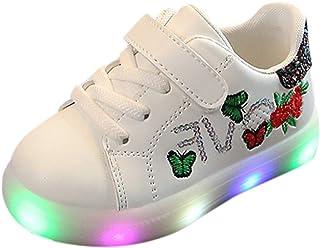 comprar comparacion Riou Zapatos LED Niños Niñas Zapatillas Deportivas Unisex Calzado Deportivo Luces Zapatos Iluminados Lentejuelas Bordado A...