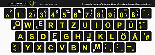 Lacerto® | 14x14mm, extra große Zeichen, deutsche Tastaturaufkleber für Sehbehinderte und Senioren, mit mattem Schutzlaminat, Farbe: Schwarz