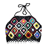 lijun Mujeres Boho Crochet Halter Backless Crop Top Rombo Perla Borla Bikini Camisola