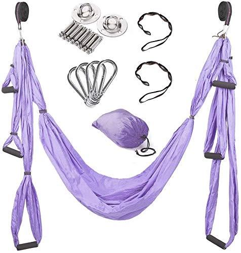 Knoijijuo Antigravity Yoga Hammock, Hammock Antigravity Yoga Practicing Yoga Yoga Anti Air -Gravity Swing/Sling/Inversion Tool Load,Purple