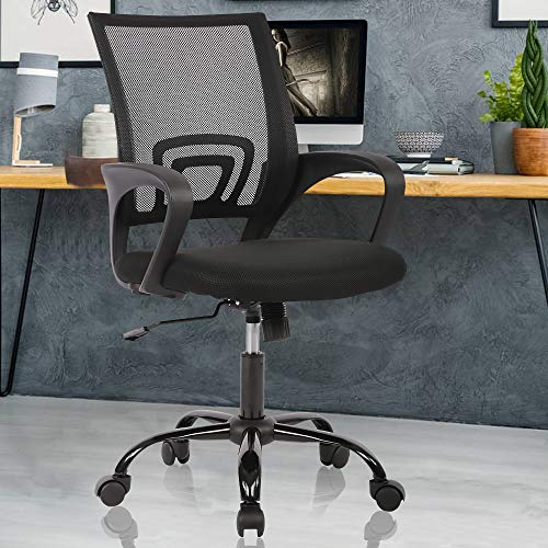 Ergonomic Office Chair Computer Desk Chair with Back Support Mesh Rolling Swivel PC Executive Chair Modern Adjustable Height Task Works Office Chair for Women Men, Black