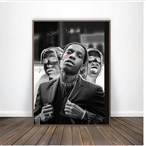 A&D Abstrakt ASAP Rocky Hip Hop Musik Schwarz Weiß Poster Leinwand Kunstdruck Home Decor Hd Prints Home Poster LeinwandFür Wohnzimmer Dekoration -50x70cmx1pcs -No Frame