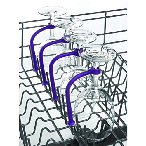 Y56 4ST weinglas Halterung Einstellen Silikon Weinglas Geschirrspüler Becherhalter Safer Stemware Saver, Weinglashalter Weinglashalter Weingläser Halter Wein Champagner Cup Hangers Rack(Blau)