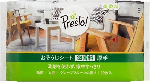 スマートマットライト [Amazonブランド]Presto! おそうじシート 微香料 厚手 200枚(20枚x10個) グレープフルーツの香り ウェットタイプ