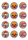 Muffinaufleger Cupcakes Muffins Kindergeburtstag Feuerwehr F01 (Zuckerpapier)