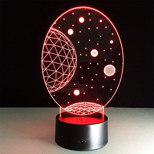 ATD Lámpara de escritorio romántica con diseño de cielo estrellado, colorida, con ilusión óptica 3D, luz de noche táctil, iluminación cálida para bebés y niños