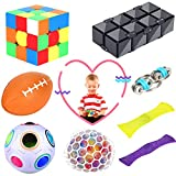 Fidget Toys Set, 8 Pack Sensory Fidget Toy for Kids Teens Adult - Anxiety Stress Relief Toys for ADHD ADD Autistic Children, Special Fidget Ball/ Infinity Cube/ Bike Chain/ Marble Mesh Fidget Toys