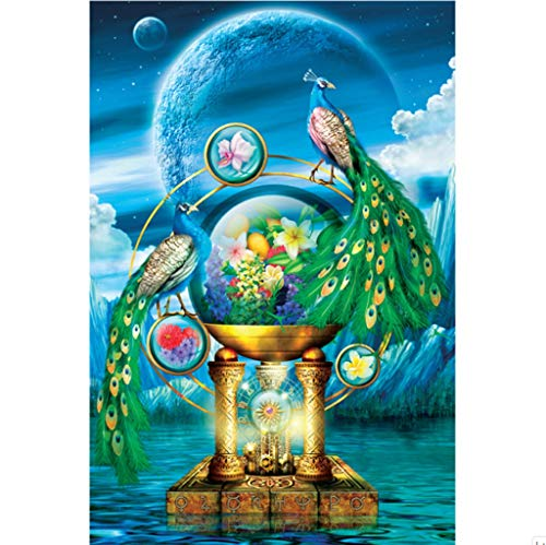 Klassieke Puzzel, Trotse Pauw Shaped 1000 Pc Jigsaw Puzzle Game for Adults Kids-Animal Holy Divine Memorial at Night Stevig en gemakkelijk