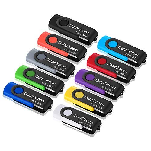 10 Piezas DataOcean 16GB Memorias USB PenDrives Giratoria Pen Drive 16 GB...
