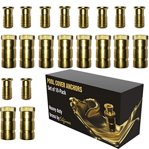 Silginnes Pool Cover Anchors Concrete and Pavers Deck 10-Pack - Universal Size Fits 3/4' Hole - Best for Pool Safety Cover Installation - Durable Brass Pool Cover Anchors and Head Screw Bolts