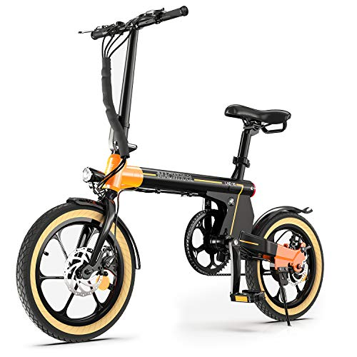 Macwheel 16' Folding Electric Bike LNE-16, 250W Electric Commuter Bicycle, 15.5mph Adults E-Bike with 7.5Ah Battery & Dual Disc Brakes, City Electric Bike for People Aged 14 to 65