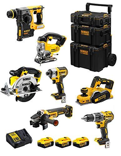DeWALT Kit DWK700 (DCD796 + DCH273 + DCG405 + DCF887 + DCS331 + DCS391 + DCP580 + 3 Baterías de 5,0 Ah + Cargador + Carro 3en1)