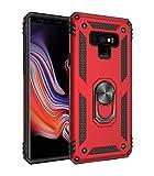 JMstore Funda Compatible con Samsung Galaxy Note 9 Anillo Soporte[Funciona con El Montaje Coche Magnético]+Protectores Pantalla(Rojo)