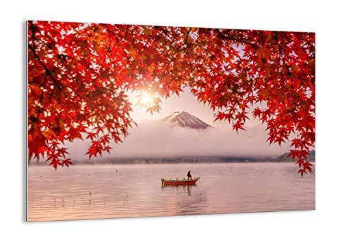 Quadro su vetro - Elemento unico - vulcano lago - 100x70cm - Pronto da appendere - Home Decor - Arte digitale - Quadri Moderni In Vetro - Stampe Da Parete - GAA100x70-4107