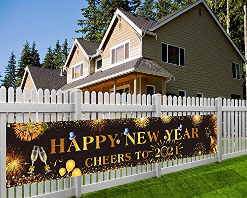 HOWAF Decoration Nouvel an 2021, Deco Fete Nouvelle Année, Bonne Année Bannière, Cheers à la bannière 2021, Noir et Or Nouvel an Deco pour Jardin Maison intérieur extérieur, 9 * 1,2 Pieds