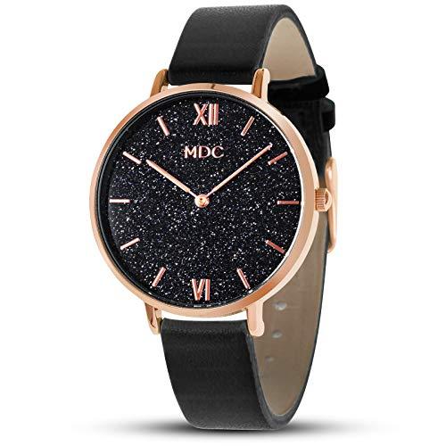 Damen Uhr Damenuhr Schwarz Armbanduhr Frauen Rosegold Lederarmband Uhren Damenarmbanduhr by MDC
