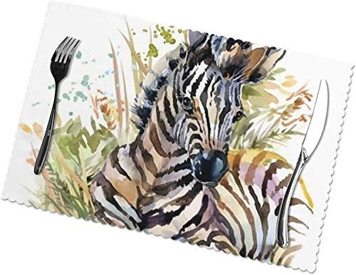 Niedliche Zebra-Aquarell-Tischsets, 4er-Set, leicht zu reinigen, hitzebeständig, schmutzabweisende Tischsets aus...