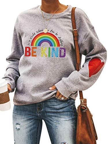 Dresswel Damen In A World Where You Can Be Anything Be Kind Sweatshirt Regenbogen Pullover Pulli Herz Patchwork Rundhals Langarmshirt Bluse Oberteile