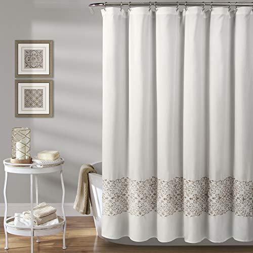 """Lush Decor, Neutral Scroll Medallion Shower Curtain, 72"""" x 72"""""""