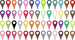 StickerTalk Assorted Colors Map Pointer Vinyl Stickers, 1 Sheet of 52 Stickers.25 inch by .5 inch Each